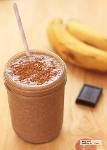 Smoothie de plátano, chocolate y crema de cacahuate. Receta