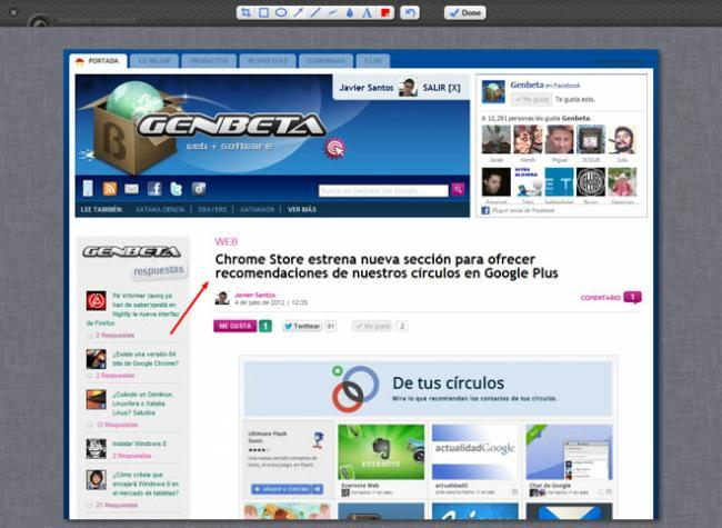 Extensión Awesome Screenshot para Chrome.