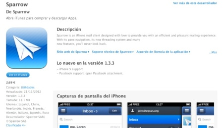 Sparrow recibe una nueva actualización para su versión de iOS