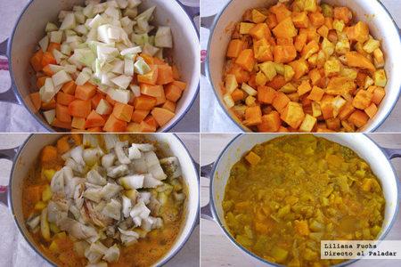 Crema de berenjena y calabaza al curry. Pasos