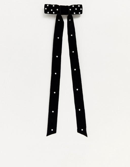 Horquillas de lazo con perlas en terciopelo negro de ASOS DESIGN