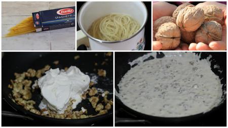 spaghetti alle noci pasos