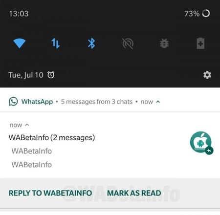 WhatsApp permitirá marcar un mensaje como leído desde la barra de notificaciones