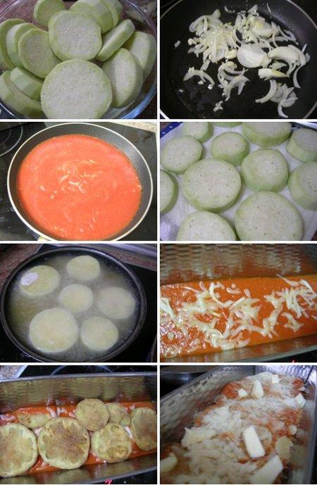 Elaboración de la receta de berenjenas con tomate