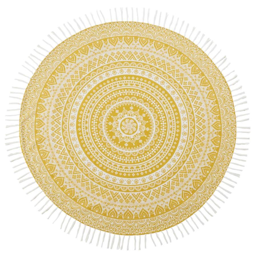 Futa de algodón amarillo con mandala blanco D.150