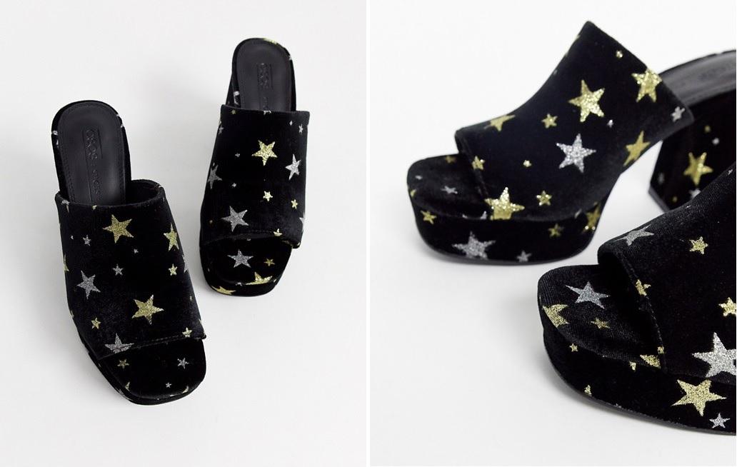 Sandalias de diseño mule de terciopelo con estrellas metalizadas