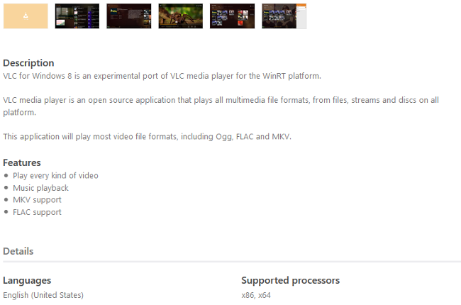 VLC Modern UI Beta, ficha de producto
