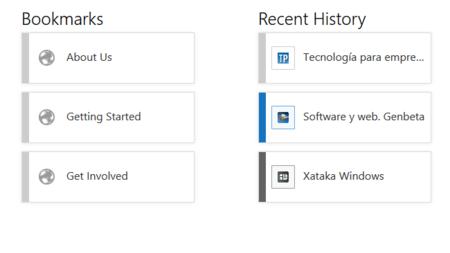 Página de nueva pestaña de Firefox Modern UI: marcadores e historial