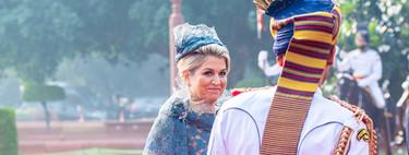Máxima de Holanda y uno de sus looks más recargados y equivocados para su llegada a la India en viaje oficial