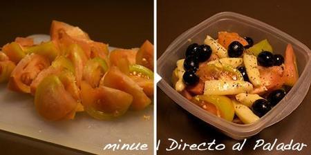 comida para llevar - ensalada de tomate - preparación