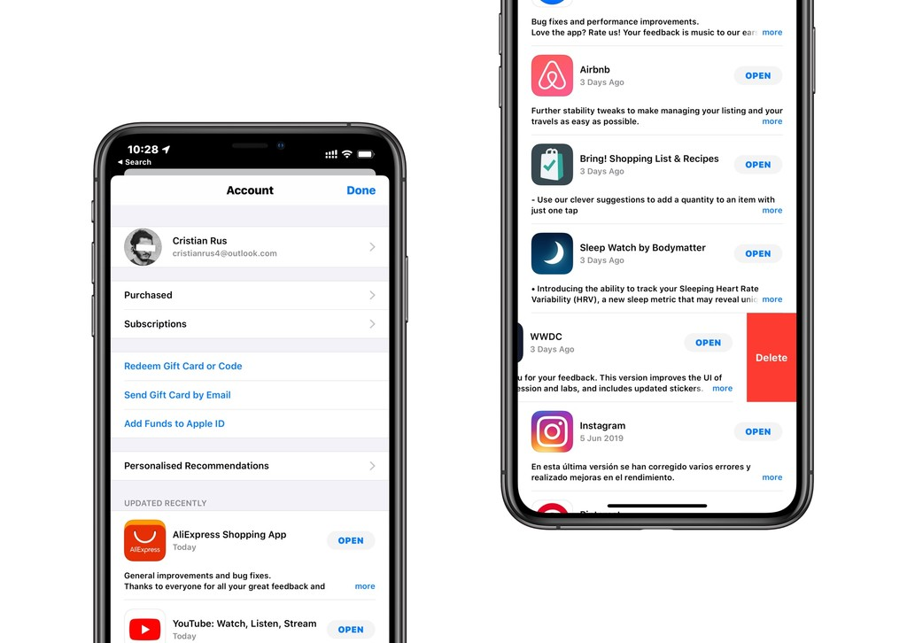 La App Store en iOS™ trece concede quitar app mas sencillamente desde la sección de actualizaciones