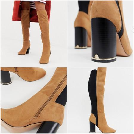 En ASOS tenemos estas botas de caña alta con tacón en camel por 74,99 euros y envío gratis