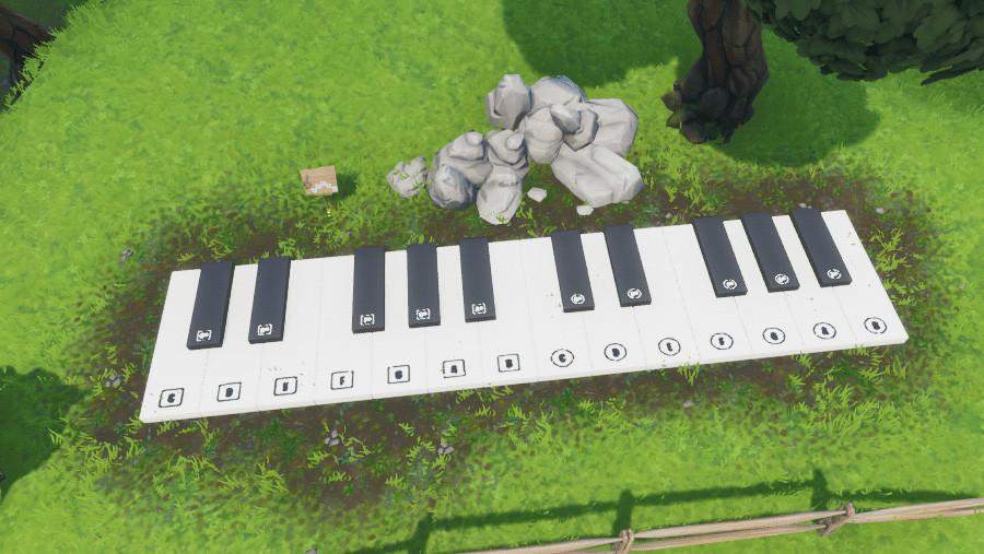 Desafío Fortnite: visita un piano enorme y toca la partitura. Solución