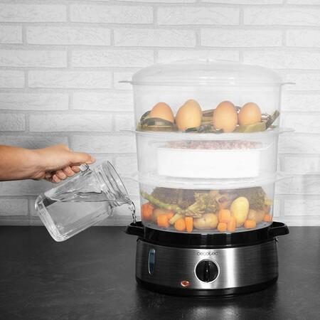 Cecotec Vaporera Electrica Vapovita 3000 Inox Con 800 W 3 Recipientes Independientes Cuenco Para Preparar Arroz Soportes Para Cocer Huevos