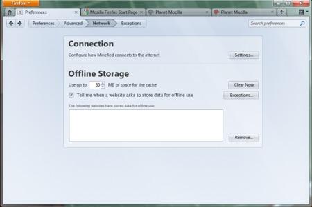 Mockup de Firefox 4, con las preferencias integradas