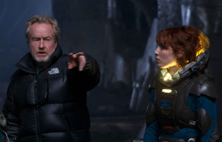 Ridley Scott Prometheus Set Noomi Rapace
