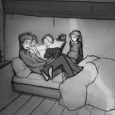 Las reales y emotivas ilustraciones de un padre y su familia con tres hijos