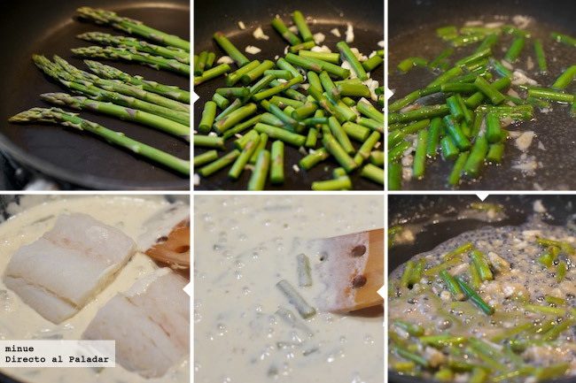 Bacalao con salsa de nata y sidra - elaboración