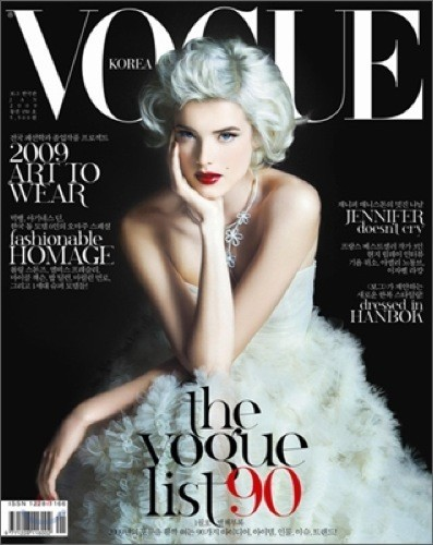 Agyness Deyn en la portada de enero de Vogue Corea