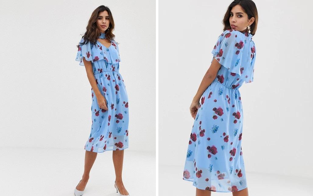 Vestido midi con estampado de amapolas en azul