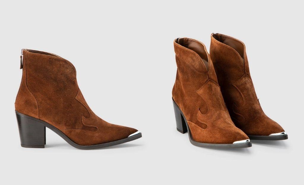 Botines de mujer Unisa de serraje marrón estilo cowboy