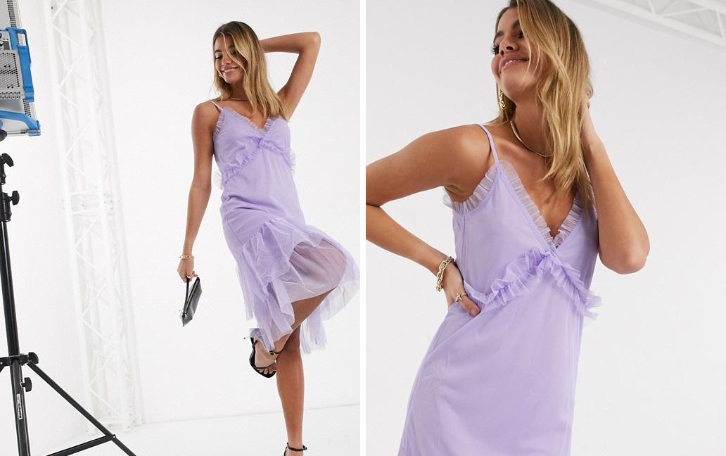 Vestido midi con volantes en tono lila