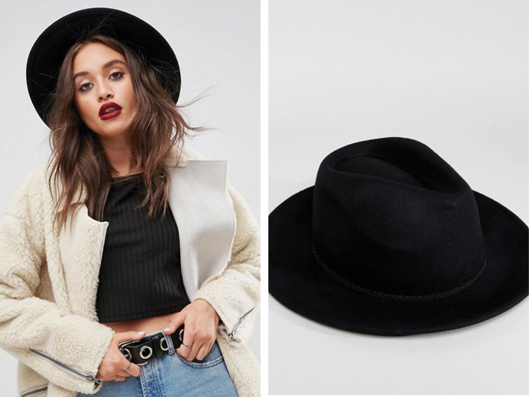 Sombrero panamá de fieltro con ribete trenzado y talla ajustable de ASOS DESIGN