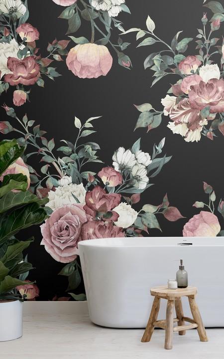 Mural De Pared Flores Vintage Rosa Y Crema Fondo Oscuro Lifestyle Web
