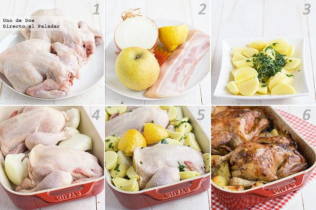Receta de pollo asado con patatas adobadas paso a paso