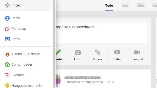 Barra lateral de Google+ con opciones