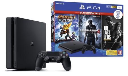 En El Corte Inglés, la PS4 Slim de 1 TB con tres juegazos como Uncharted 4, The Last of Us y Ratchet & Clank, hoy, por sólo 199,90 euros