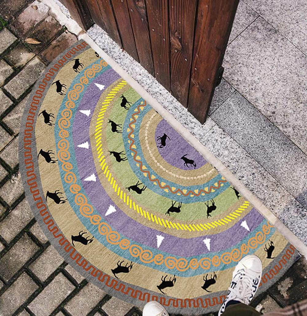 Felpudo Antideslizante con Diseño Semicircular,40 x 80 cm Felpudo Absorbente Entrada casa,Lavable a Máquina, Decoración Bohemia Para Entrada, Patio, Pasillo, Iinterior y Exterior
