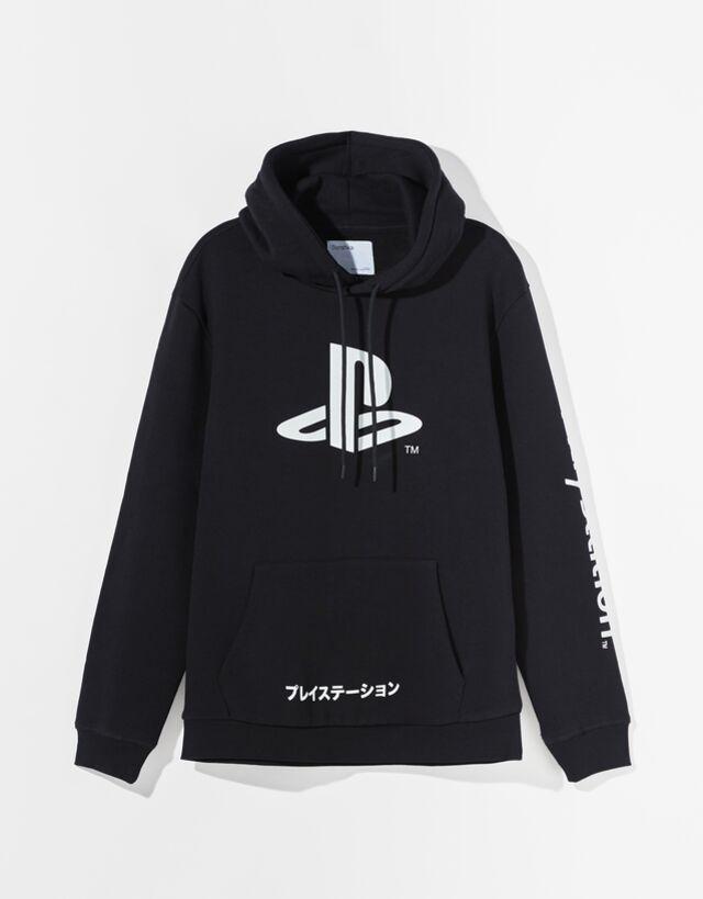 Sudadera negra con capucha y logo de Play Station