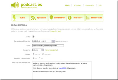 Podcasts.es, crea tus podcasts en pocos minutos