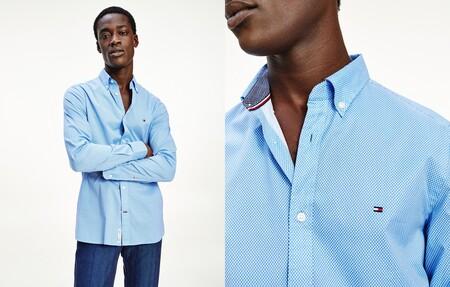 Camisa De Hombre Slim Microestampada De Manga Larga Azul 2