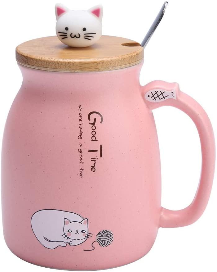 TOPINCN Taza de cerámica Lovely Cat Solid