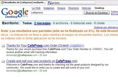 "Buscar en Gmail  desde ""Google Desktop Search"""