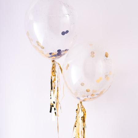 Meri Meri Ballon Set Mit Konfetti Gold Silber