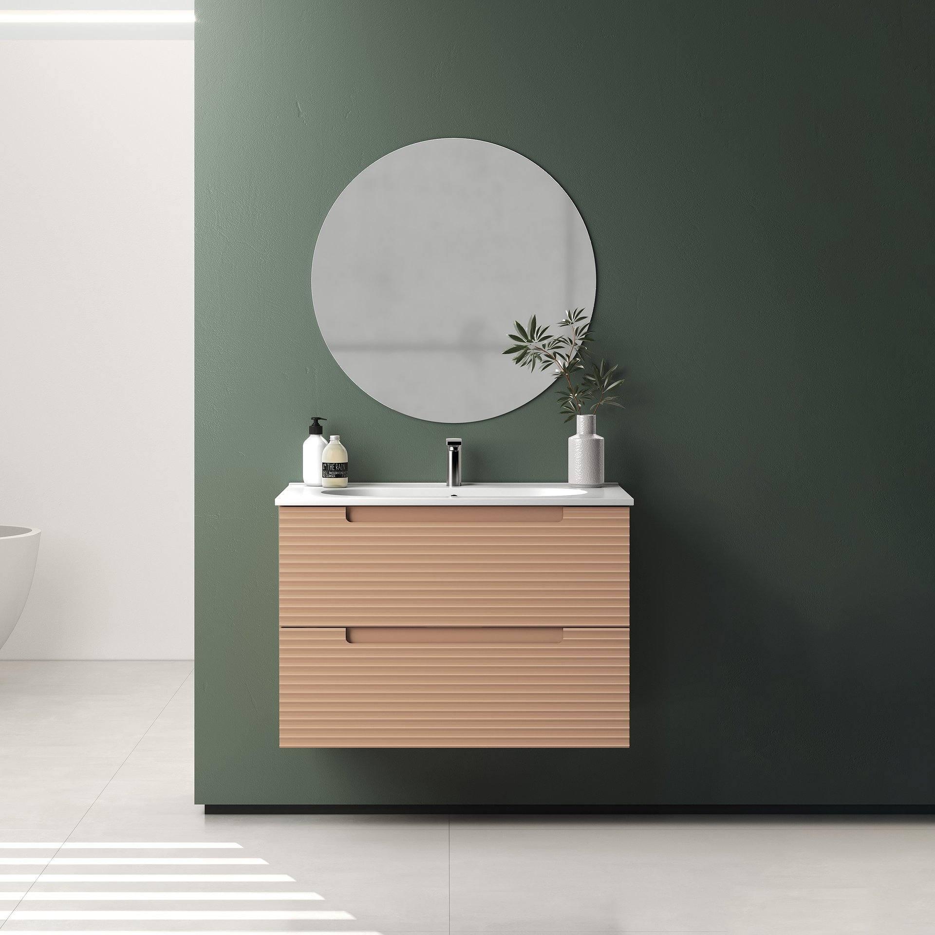 Conjunto mueble de baño en medidas de ancho de 60/80/100 cm x 46 cm de fondo x 55 cm de alto. Incluye lavabo modelo Flat o Ada  de cerámica