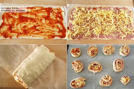 Bocados enrollados de pizza. Pasos