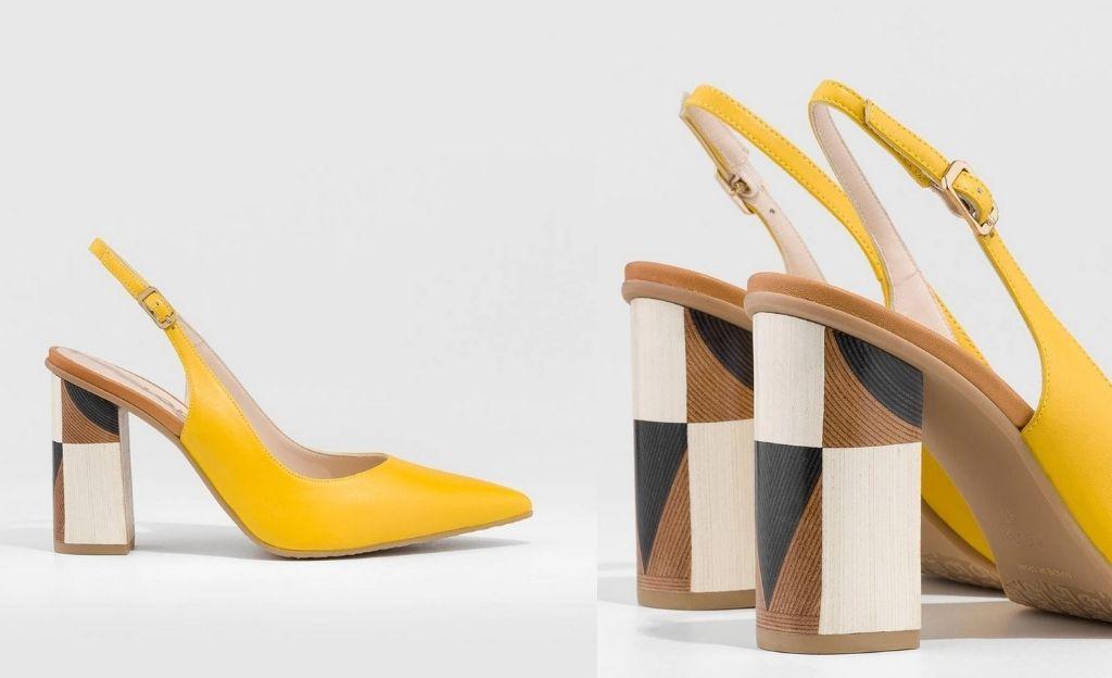 Zapatos de salón de mujer Lodi de piel en color amarillo