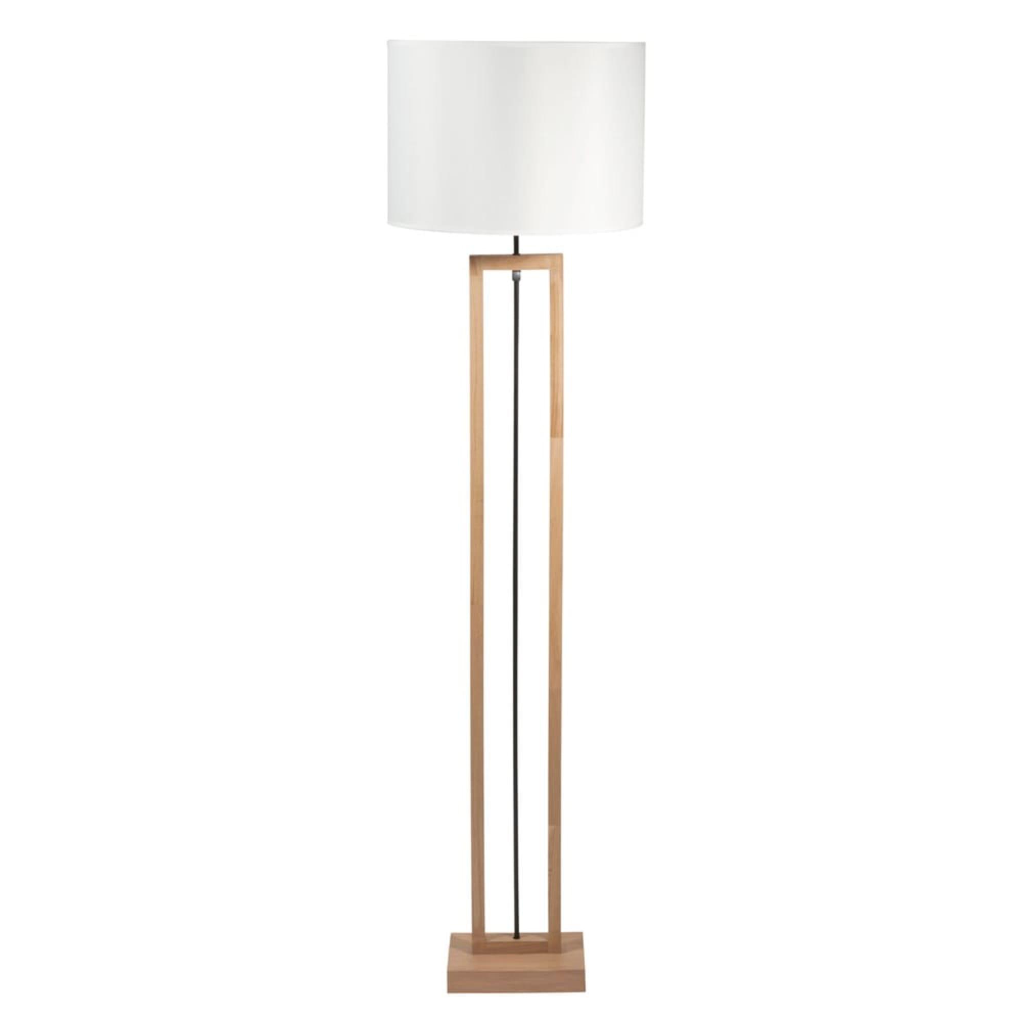 Lámpara de pie de terminalia y pantalla blanco