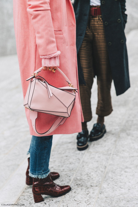 Milan Fashion Week Fall 16 Mfw Street Style Collage Vintage Pink Coat Loewe Puzzle Bag