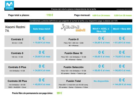 Precios Xiaomi Redmi 7a A Plazos Con Tarifas Movistar