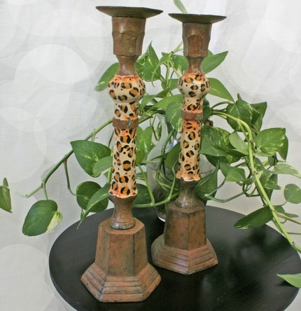 candelabros leopard etsy