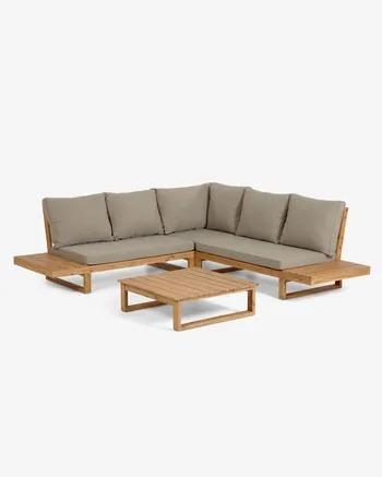 Set Flaviina de sofá rinconero 5 plazas y mesa de madera maciza acacia