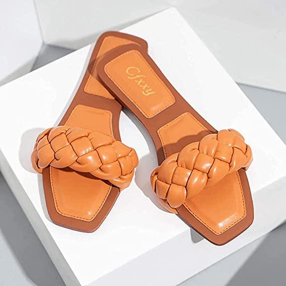 Sandalias Planas Cuadradas De Punta Abierta para Mujer, Deslizamiento Entrecruzado Correa Trenzada Zapatilla De Mula De Tacón Bajo, Zapatos De Playa De Vacaciones