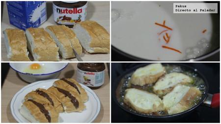 torrijas rellenas de nutella pasos