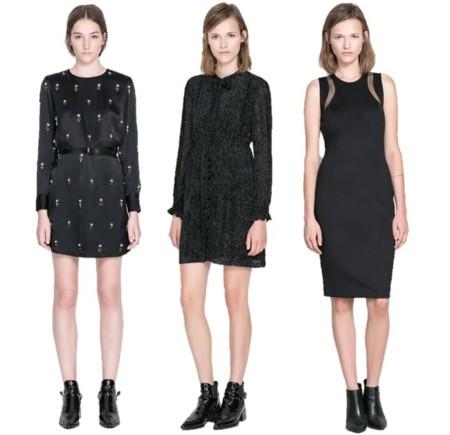 vestidos negros zara otoño 2013