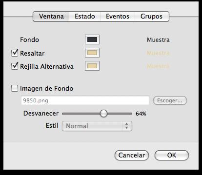 Detalle de pantalla de Tema de Colores
